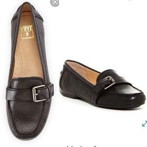 Frye Janet Buckle Slip On Moccasin Loafer Black